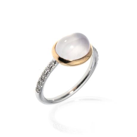 Mimi Milano 18k Two-Tone Gold Milky Quartz + Diamond Ring // Ring Size: 7.5