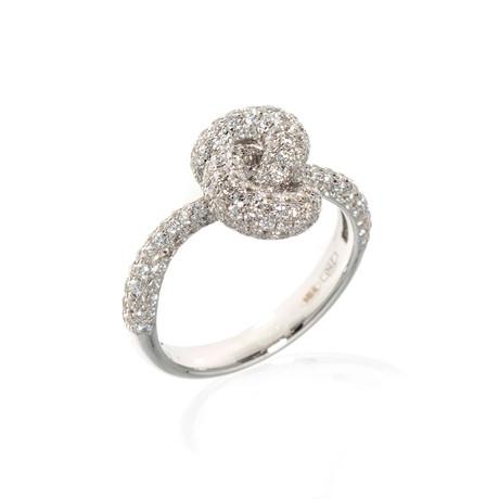 Piero Milano 18k White Gold Diamond Statement Ring // Ring Size: 6.5