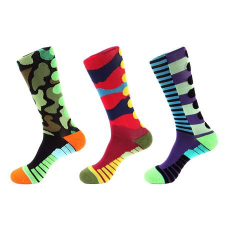 Mile Stripe Athletic Socks I // Multicolor // Pack of 3
