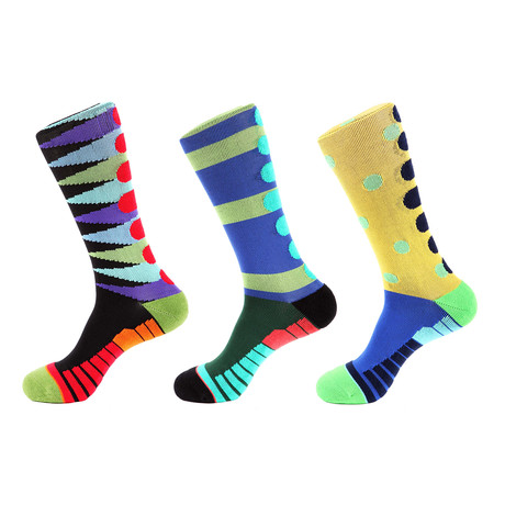 Lane Stripe Athletic II // Multi Color // Pack of 3 (Multicolor)