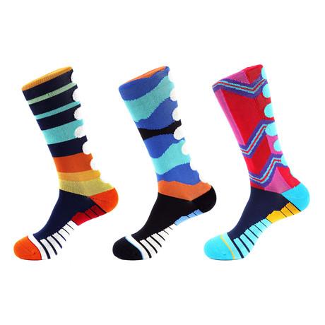 Tiger Stripe Athletic Socks II // Multicolor // Pack of 3