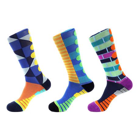 Mile Stripe Athletic II // Multi Color // Pack of 3 (Multicolor)