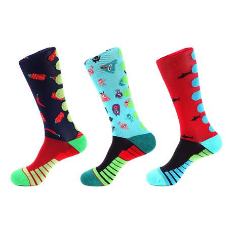 Monster Athletic Socks II // Multicolor // Pack of 3