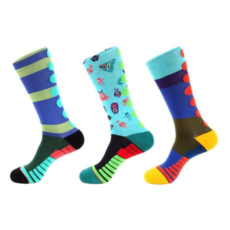 Brick Stripe Athletic II // Multi Color // Pack of 3 (Multicolor)