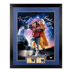 Michael J. Fox + Christopher Lloyd // Autographed Back to the Future II Marty McFly, Doc Brown Framed Poster Art