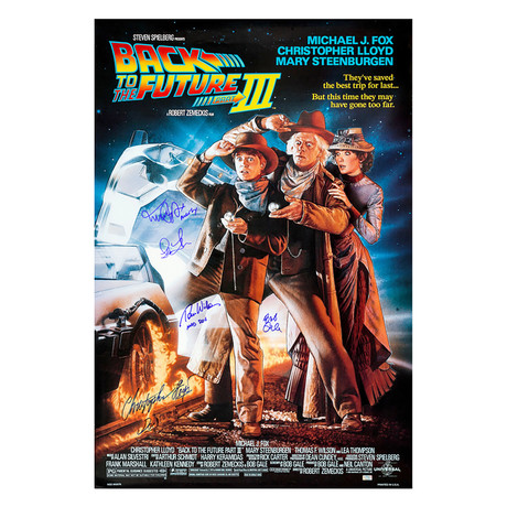 Cast Autographed 1985 Back To The Future Iii Movie Poster