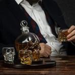 Skull Decanter Wooden Tray // 4 Glasses