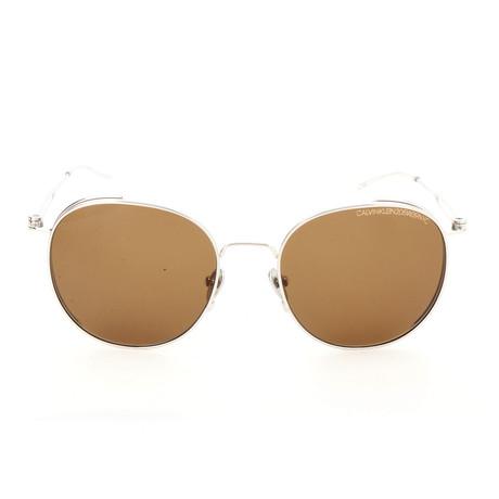 Unisex CK8052 Sunglasses // Shiny Nickel + Brown