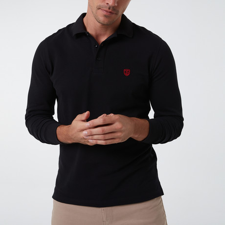 Alvise Long Sleeve Polo // Black (S)