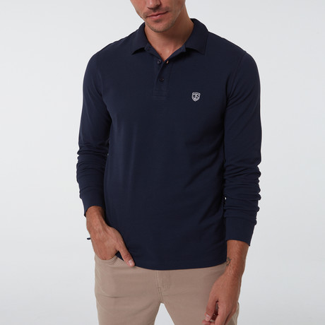 Alvise Long Sleeve Polo // Navy (S)