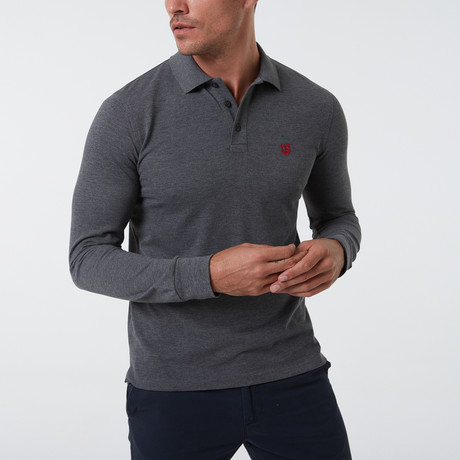 Alvise Long Sleeve Polo // Anthracite (S)
