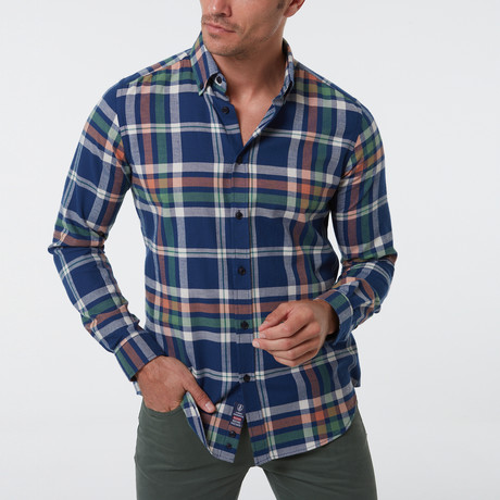 Geoff Button-Up Shirt // Navy (S)