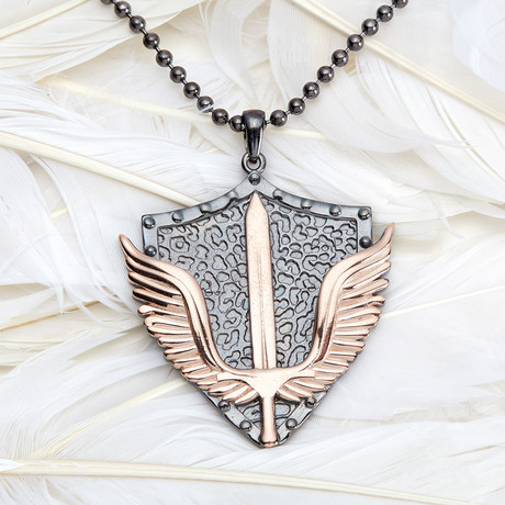 GKL0077 // Empire Wings Necklace // Black + Rose (XS-S)