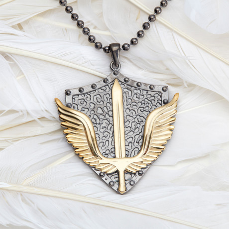 GKL0078 // Empire Wings Necklace // Black + Gold (XS-S)