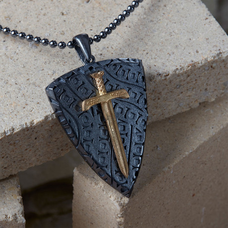 GKL0066 // Necklace Of Knights // Black + Gold (XS-S)