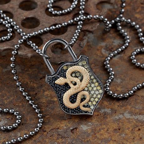 GKL0112 // Snake Necklace // Black + Gold (XS-S)