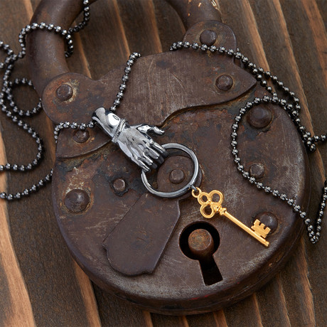 GKL0048 // Hand With Key Necklace // Black Gold (XS-S)