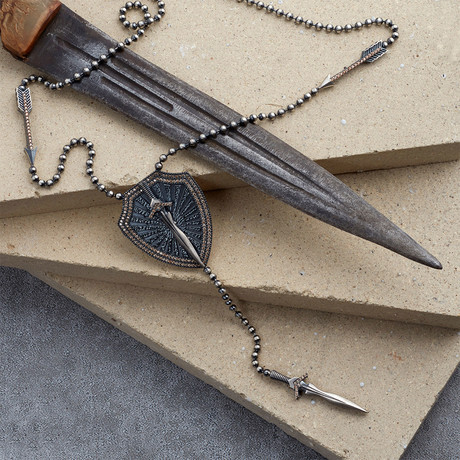 GKL0144 // Armor + Sword Necklace // Matte Silver (XS-S)
