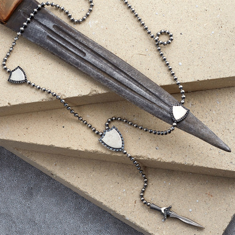 GKL0091 // Armor Necklace // Matte Silver (XS-S)