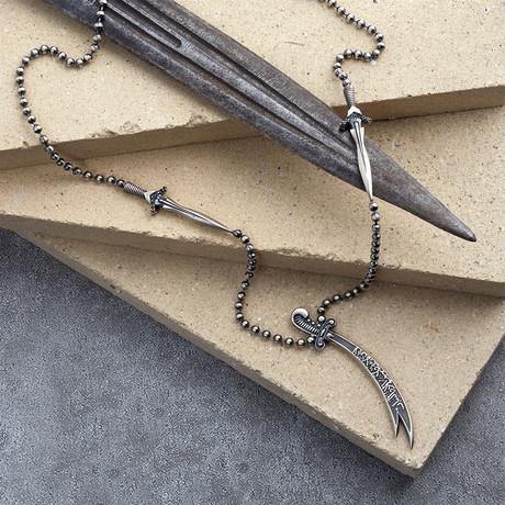 GKL0145 // Arab Sword Necklace // Matte Silver (XS-S)