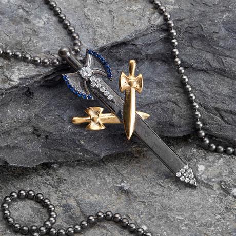 GKL0160 // Knife Necklace // Black + Gold (XS-S)