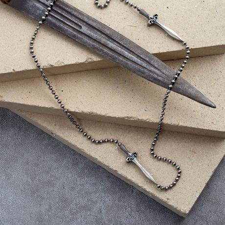 GKL0155 // 2 Swords Necklace // Matte Silver (XS-S)