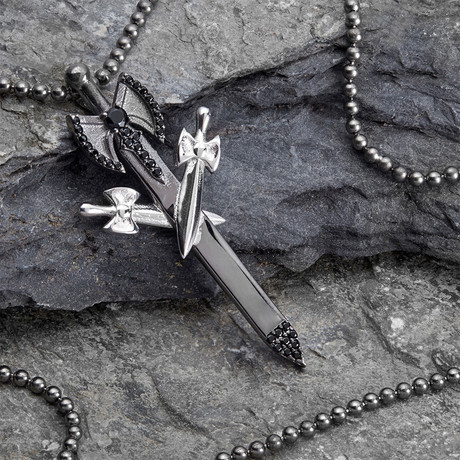 GKL0161 // Knife Necklace // Black +  Silver (XS-S)