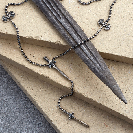 GKL0089 // Sword Necklace // Matte Silver (XS-S)