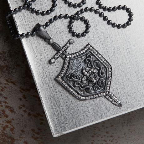 GKL0054 // Spear + Sword Necklace // Black + Black (XS-S)