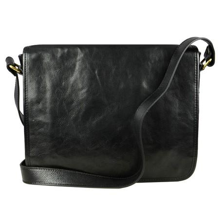 The Stranger // Leather Messenger Bag // Black