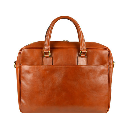 The Little Prince // Leather Briefcase Laptop Bag // Orange