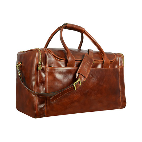 The Hitchhikers Guide To The Galaxy // Leather Duffel Bag // Brown