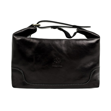 Autumn Leaves // Leather Toiletry Bag // Black