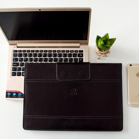 The Goblet Of Fire // Leather Laptop Sleeve // Black