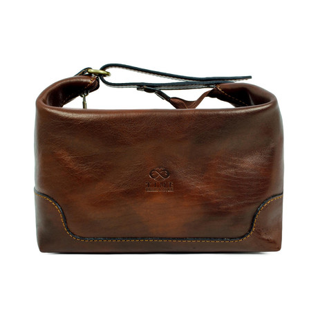 Autumn Leaves // Leather Toiletry Bag // Brown