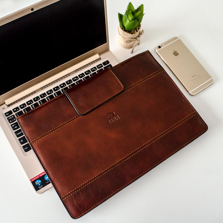 The Goblet Of Fire // Leather Laptop Sleeve // Brown