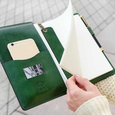 Leather Journal + Refillable Notepad // Green