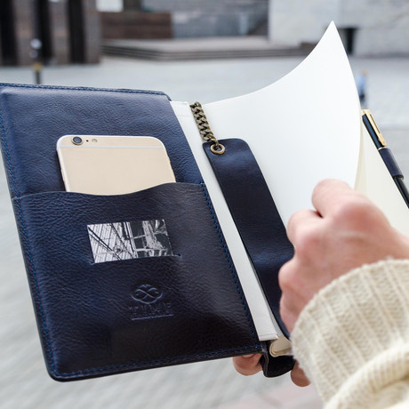 Leather Journal + Refillable Notepad // Navy