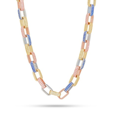 Stainless Steel Figaro Pav'e Mariner Chain Necklace // Multicolor