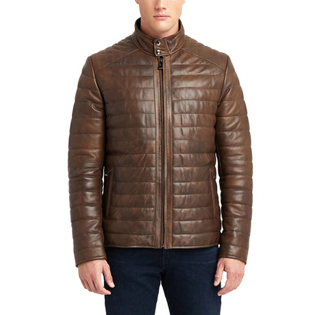Matt Buttoned Collar Leather Jacket // Brown (S)