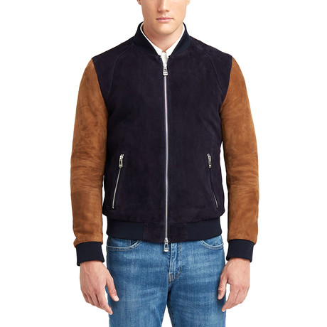 Marshall Blouson Leather Jacket // Navy + Tobacco (S)