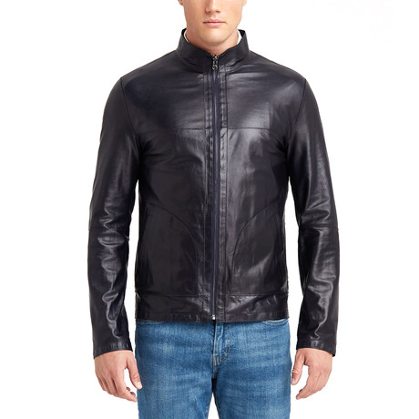 Alan Doubleface Leather Jacket // Navy (S)