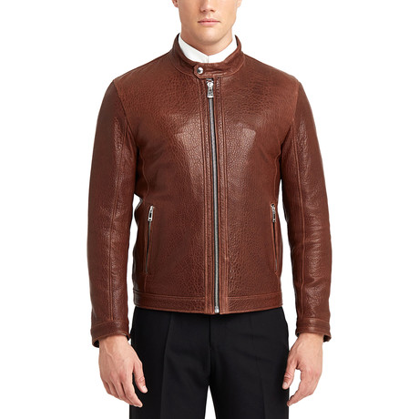 Hugo Buttoned Collar Leather Jacket // Red + Brown (S)
