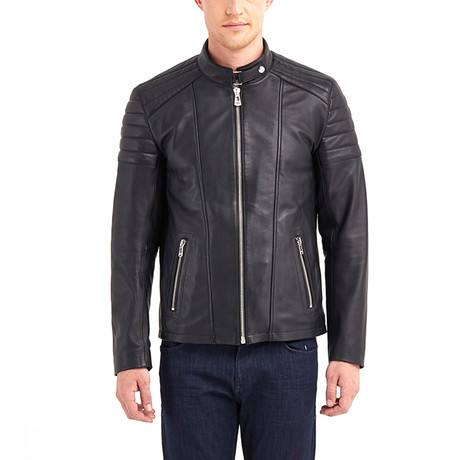 Nathaniel Biker Leather Jacket // Black (S)