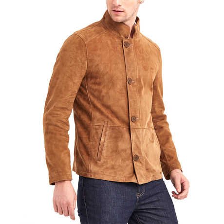 Marco High Collar Leather Jacket // Tobacco (S)