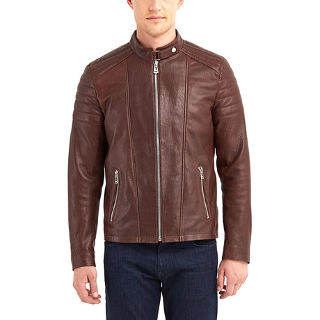 Nathaniel Biker Leather Jacket // Hazelnut (S)