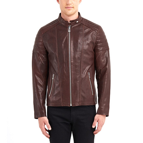Nathaniel Biker Leather Jacket // Chestnut (S)