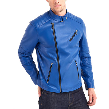 Julio Biker Leather Jacket // Blue (S)