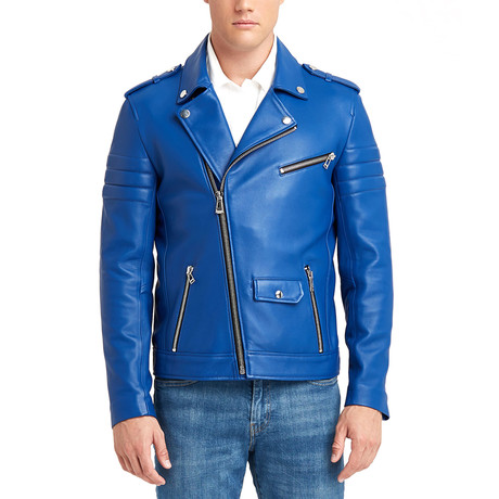 Richard Biker Leather Jacket // Blue (S)