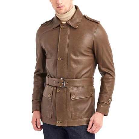 Joseph Leather Jacket // Khaki (S)